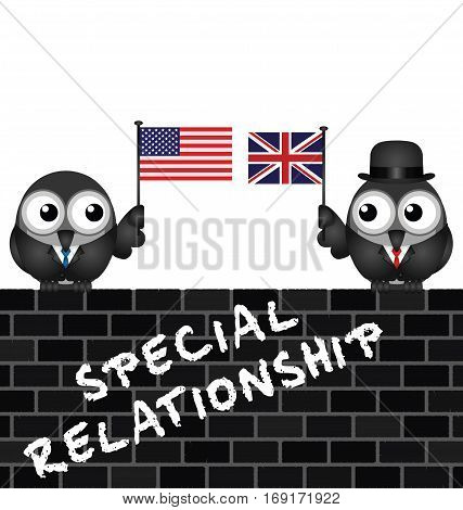 Representation of the USA UK special relationship with flag waving birds perched on a brick wall
