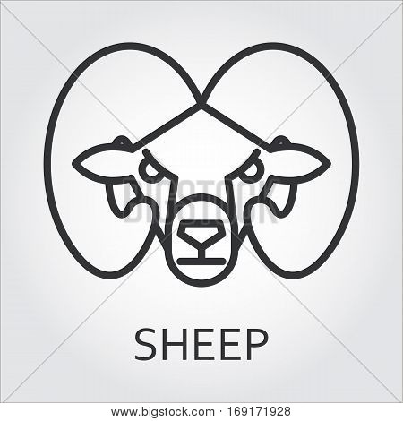 Black flat simple icon style line art. Outline symbol with stylized image of a head of a wild animal mountain sheep, ram. Stroke vector logo mono linear pictogram web graphics. On a gray background.