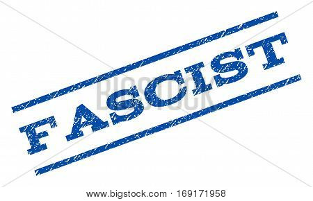 Fascist watermark stamp. Text tag between parallel lines with grunge design style. Rotated rubber seal stamp with scratched texture. Vector blue ink imprint on a white background.