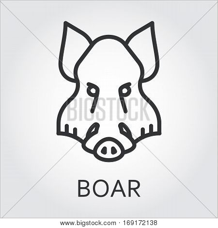 Black flat simple icon style line art. Outline symbol with stylized image of a head of a wild animal boar, aper. Stroke vector logo mono linear pictogram web graphics. On a gray background.