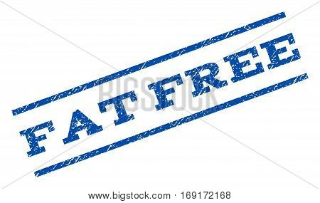 Fat Free watermark stamp. Text caption between parallel lines with grunge design style. Rotated rubber seal stamp with scratched texture. Vector blue ink imprint on a white background.