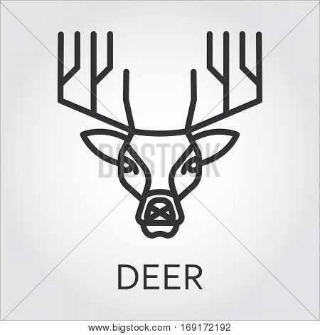 Black flat simple icon style line art. Outline symbol with stylized image of a head of a wild animal deer reyndeer. Stroke vector logo mono linear pictogram web graphics. On a gray background.