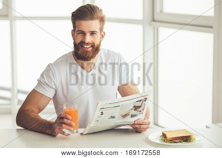 Handsome Bearded Man At Home