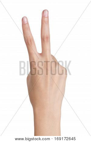 Woman's hand gesturing sign victory back side Isolated on white background.