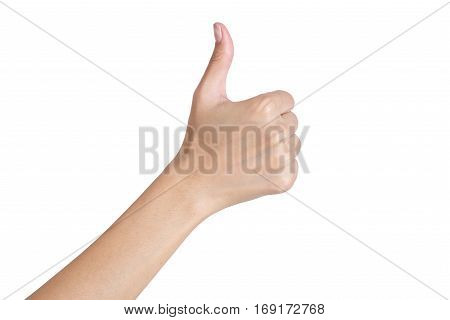 Woman's hand gesturing sign thumbs up back side Isolated on white background.
