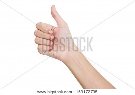 Woman's hand gesturing sign thumbs up front side Isolated on white background.