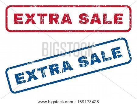Extra Sale text rubber seal stamp watermarks. Vector style is blue and red ink tag inside rounded rectangular banner. Grunge design and dirty texture. Blue and red signs.