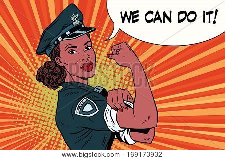 Woman COP we can do it. Vintage pop art retro vector illustration. female police officer, policewoman African American