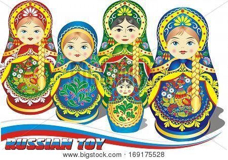 Russian nesting dolls - set of toys in different colors. Vector illustration