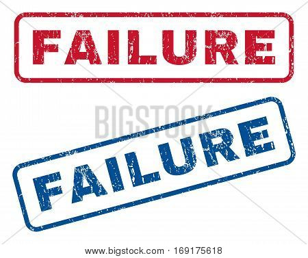 Failure text rubber seal stamp watermarks. Vector style is blue and red ink tag inside rounded rectangular banner. Grunge design and scratched texture. Blue and red signs.