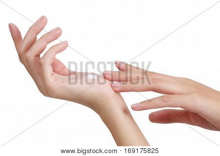 Beauty Asian Woman Hands Apply Lotion And Cream On Her Hand.
