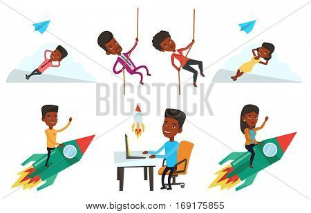 African businessman looking at business start up rocket. Businessman working on business start up. Business start up concept. Set of vector flat design illustrations isolated on white background.