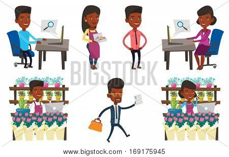 Florist standing behind the counter at flower shop. Florist using phone and laptop to take order. Man working in flower shop. Set of vector flat design illustrations isolated on white background.