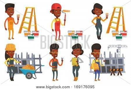 House painter holding paintbrush. House painter with paintbrush standing near step-ladder and paint cans. House renovation concept. Set of vector flat design illustrations isolated on white background