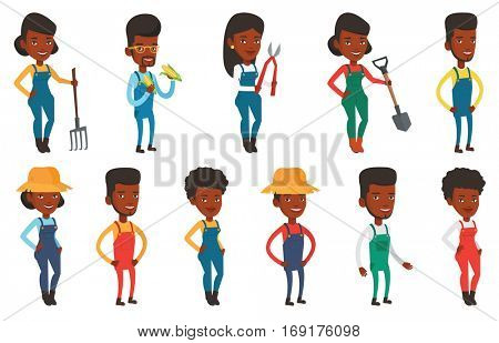 Smiling african-american farmer collecting corn. Farmer in summer hat standing with hands in pockets. Farmer working with a pruner. Set of vector flat design illustrations isolated on white background