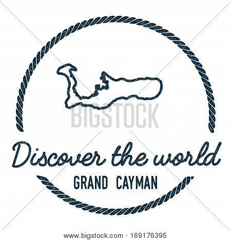 Grand Cayman Map Outline. Vintage Discover The World Rubber Stamp With Island Map. Hipster Style Nau