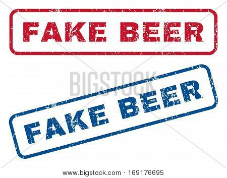 Fake Beer text rubber seal stamp watermarks. Vector style is blue and red ink tag inside rounded rectangular shape. Grunge design and dust texture. Blue and red stickers.