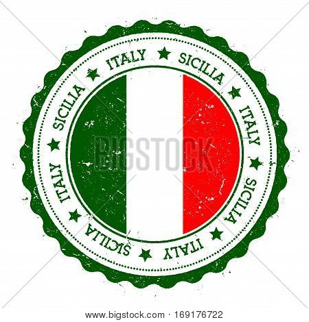 Sicilia Flag Badge. Vintage Travel Stamp With Circular Text, Stars And Island Flag Inside It. Vector
