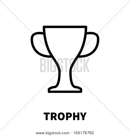 Trophy icon or logo in modern line style. High quality black outline pictogram for web site design and mobile apps. Vector illustration on a white background.