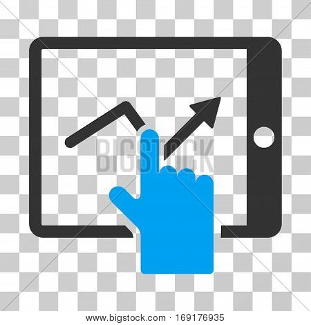 Tap Trend On PDA icon. Vector illustration style is flat iconic bicolor symbol blue and gray colors transparent background. Designed for web and software interfaces.