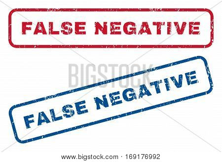 False Negative text rubber seal stamp watermarks. Vector style is blue and red ink caption inside rounded rectangular banner. Grunge design and dust texture. Blue and red signs.