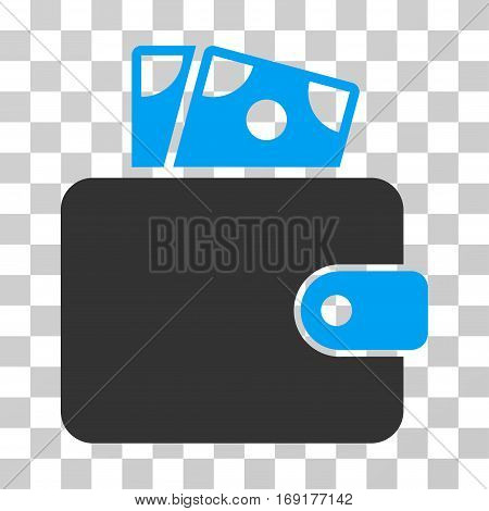 Wallet icon. Vector illustration style is flat iconic bicolor symbol blue and gray colors transparent background. Designed for web and software interfaces.