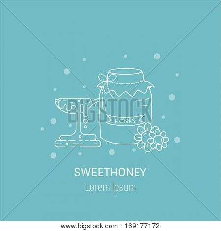 Vector line icon of jar full of honey flowers and spoon with honey. Logo design for honey factory or sweet production company. Vector illustration in thin line style.