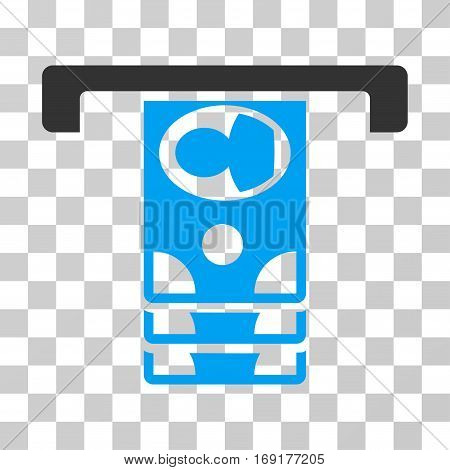 Withdraw Banknotes icon. Vector illustration style is flat iconic bicolor symbol blue and gray colors transparent background. Designed for web and software interfaces.