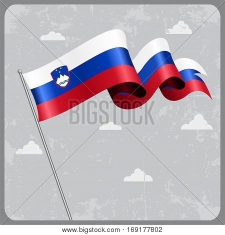 Slovenian flag wavy abstract background. Vector illustration.