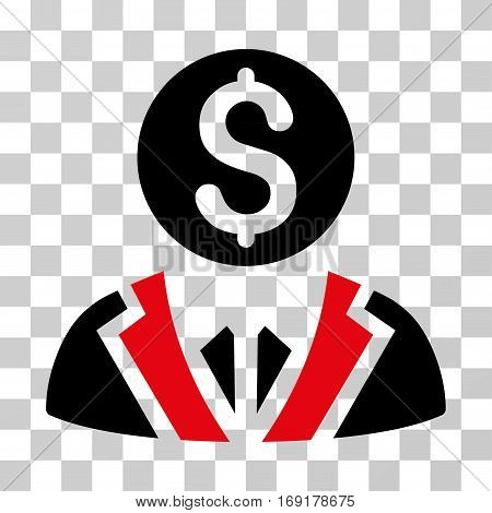 Banker icon. Vector illustration style is flat iconic bicolor symbol intensive red and black colors transparent background. Designed for web and software interfaces.