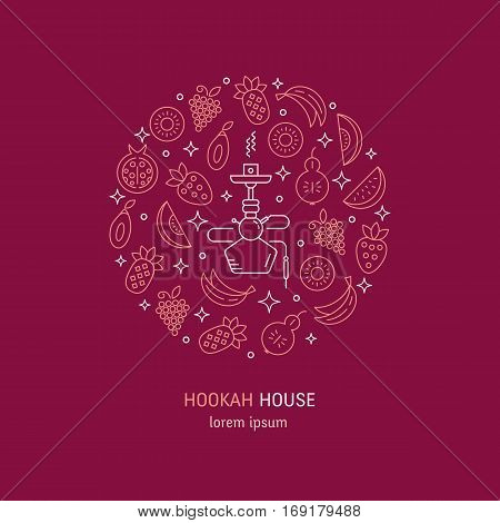 Vector logo design with fruit and hookah in trendy linear style - abstract circle emblem for hookah house, cafe and tobacco packaging design. Vector illustrations isolated on black background.