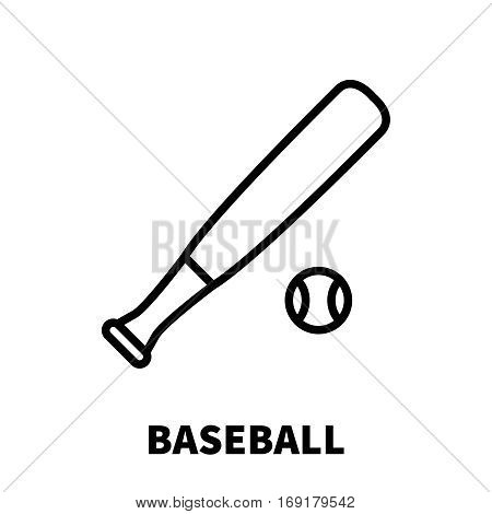 Baseball icon or logo in modern line style. High quality black outline pictogram for web site design and mobile apps. Vector illustration on a white background.