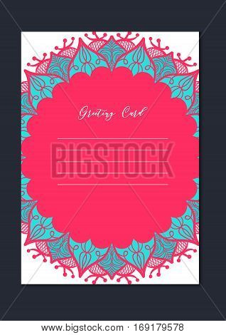 Mandala vintage template card in arabic and indian islam and ottoman turkish asian style for brochure flyer greeting invitation card cover. Format A4. Floral holiday ornamental design. Vector