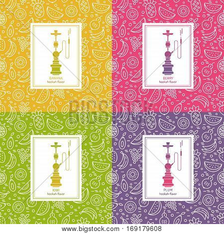 Set of vector seamless pattern with fruit and hookah in trendy linear style. Hookah logo design template. Perfect for tobacco packaging design. Vector background.