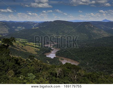 Tibagi River Parana State Brazil forest mountains curves horizon