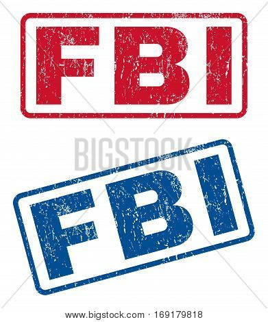 FBI text rubber seal stamp watermarks. Vector style is blue and red ink tag inside rounded rectangular shape. Grunge design and scratched texture. Blue and red stickers.