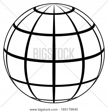 globe planet high quality icon, sphere with lines on the surface of a sphere vector template