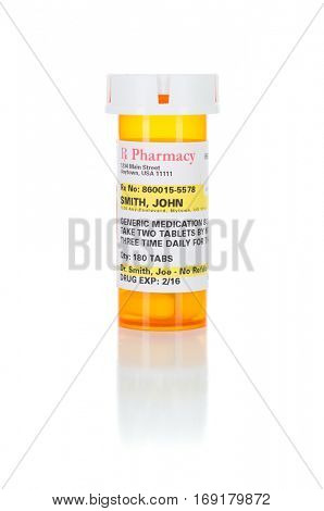 One Non-Proprietary Medicine Prescription Bottle Isolated on a White Background. These labels contains only fictitious information.
