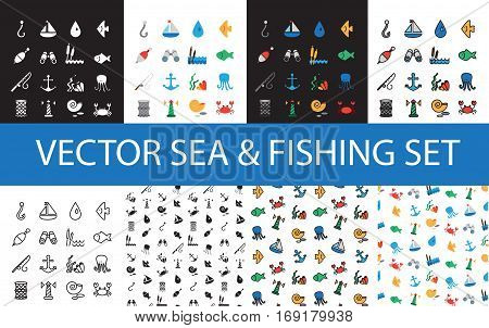 Isolated marine and fishing icons and patterns set. Vector