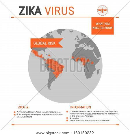 Zika virus global risk concept  vector infographics with affected areas and place for text isolated on white background.