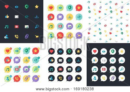 Web Icons for blog and social networks online shopping and email files of video images and photos. Elements for count of views likes and reposts. Web Icons set and pattern. Vector