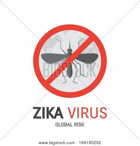 Zika virus concept  vector with mosquito, globe and text isolated on white background.