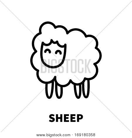 Sheep icon or logo in modern line style. High quality black outline pictogram for web site design and mobile apps. Vector illustration on a white background.