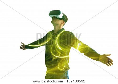 The man with glasses of virtual reality. Future technology concept. Conceptual image of a man caught in Internet Addiction Disorder.