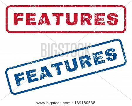 Features text rubber seal stamp watermarks. Vector style is blue and red ink tag inside rounded rectangular shape. Grunge design and scratched texture. Blue and red stickers.