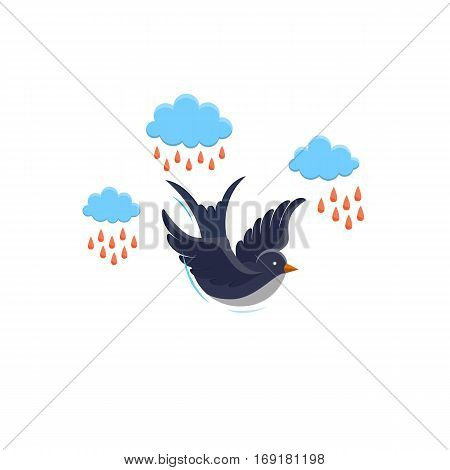 Swallow vector,  illustration isolated on white background. Bird flying in the sky. Swallow, cloud and rain made in flat style