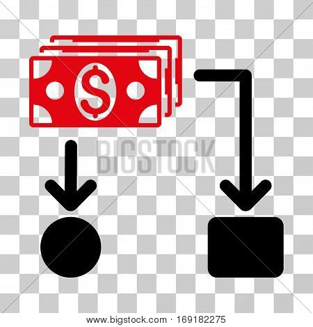 Cashflow icon. Vector illustration style is flat iconic bicolor symbol intensive red and black colors transparent background. Designed for web and software interfaces.