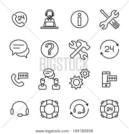Set of online support icons in modern thin line style. High quality black outline assist symbols for web site design and mobile apps.