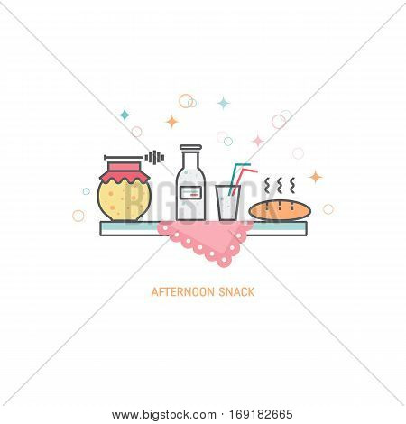 Vector afternoon snack concept made in trendy linear style, including honey, bread and milk isolated on white background