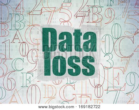 Data concept: Painted green text Data Loss on Digital Data Paper background with   Hexadecimal Code